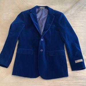 Boys blue velvet velour blazer sz 12